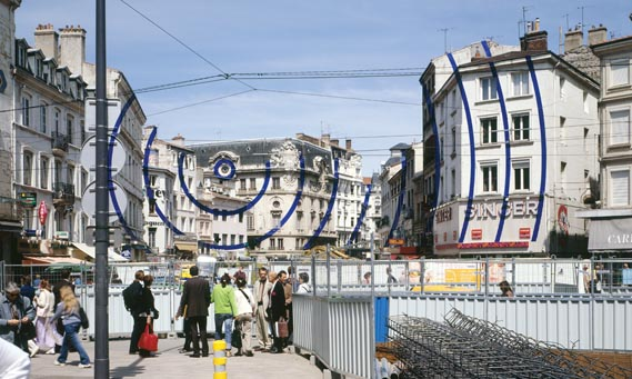 Between Heaven and Earth - Transurbaines Biennial of the City, Saint Etienne, France, 2005. Silkscreen paper collage. The image shows the final piece as viewed from the ideal vantage point.
