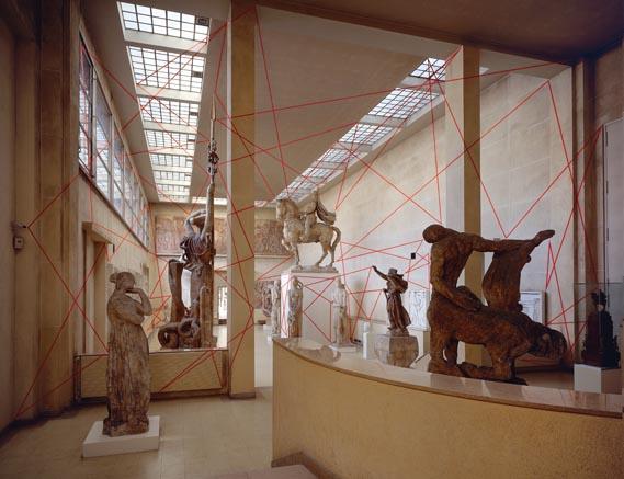 A Line, A Thousand, And One Straight. - Felice Varini Au 18, Rue Antoine Bourdelle solo exhibition, Musée Bourdelle, Paris, France, 2006. Silkscreen paper collage.
