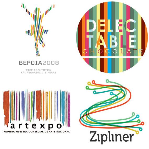Candy Stripe - (Clockwise): ORFIK DESIGN for DVA SA; Liquid Pixel Studio for Delectable Chocolate; Dache for Zipliner; Juancazu for Camara de Comercio de Bogota.