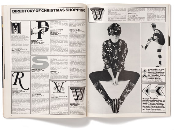 Listings - The magazine featured a wraparound newsprint listings section which was printed letter­press. It featured ornaments, illus­trations and hand-drawn type by the likes of Alan Aldridge and French artist Alain Le Foll.