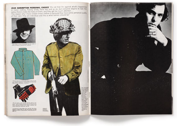 Fashion spread - London Life often mixed illustration and photography on the same spread. Drawings by Ken Astrop, Ian Dury and Christian Benais, photograph on facing page by Caroline Montgomery. All pages are from 1965