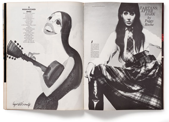 Joan Baez, illustrated by Gerald Scarfe - Facing page: fashion story shot by David Montgomery; This month's Monograph, for CR subscribers only, features 16 addi­tional covers and spreads from London Life.