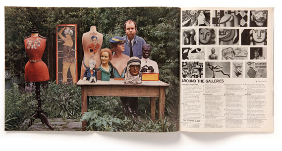 Centre gatefold - Another (costly) section of the magazine was this centre gate­fold, here featuring artist Peter Blake whose Sgt. Pepper sleeve was to appear two years later. Photo­graph: Lord Snowdon.