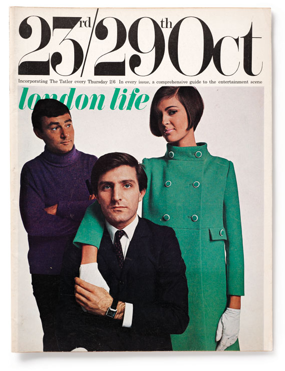 Cover, 1965 - Featuring iconic 60s hair­dresser Vidal Sassoon (left) and designer Emanuel Ungaro (centre) shot by Duffy