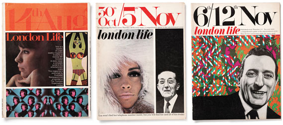 Covers - London Life's distinctive cover featured the date of each issue, hand-drawn, at the top of the book. Hillman's dummy issue (far left) was put together using images cut out of other magazines. The two complete issues shown here are both from 1965 with Ian Dury providing the portrait of Tony Bennett, far right. The follow­ing year, a new editor came in tasked with making the magazine more commercial. His first act was to ditch the trademark cover date. The magazine closed not long afterwards