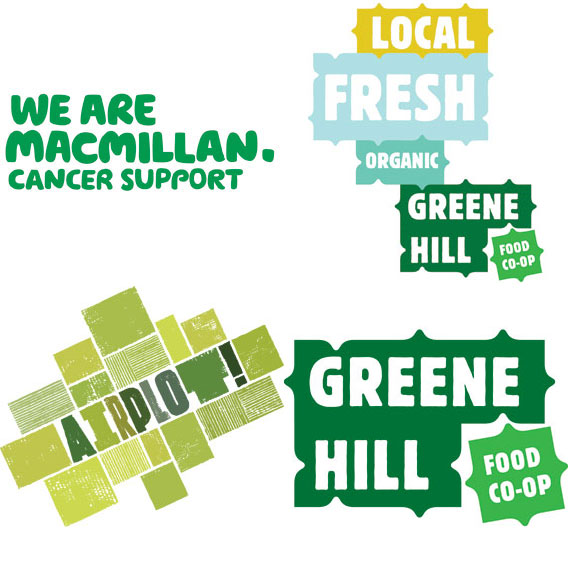Monologue - (Clockwise from top left): Wolff Olins for Macmillan Cancer Support; Base for Greene Hill Food Co-op; Base for Greene Hill Food Co-op Lockup Variation; Airside for Airplot