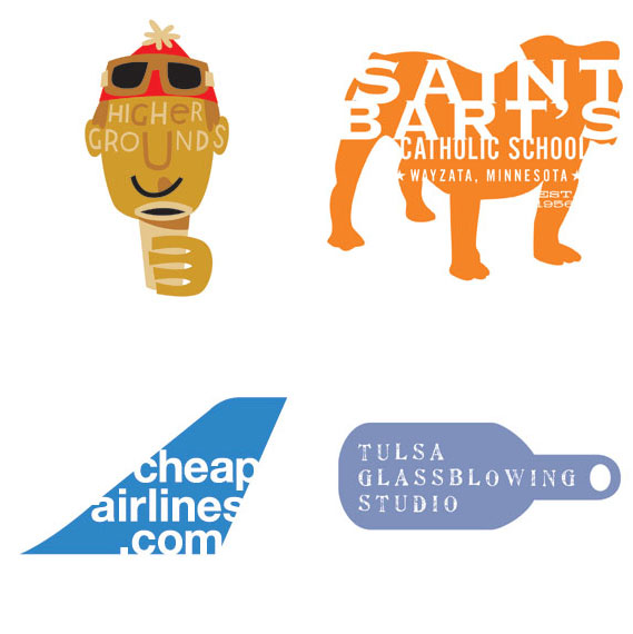 Texting - (Clockwise from top left): Chris Rooney Illustration/ Design for Heavenly Ski Resort; Sussner Design Company for Saint Bart's school; Bryan Cooper Design for Tulsa Glass­blowing Studio; GDNSS for cheapairlines.com