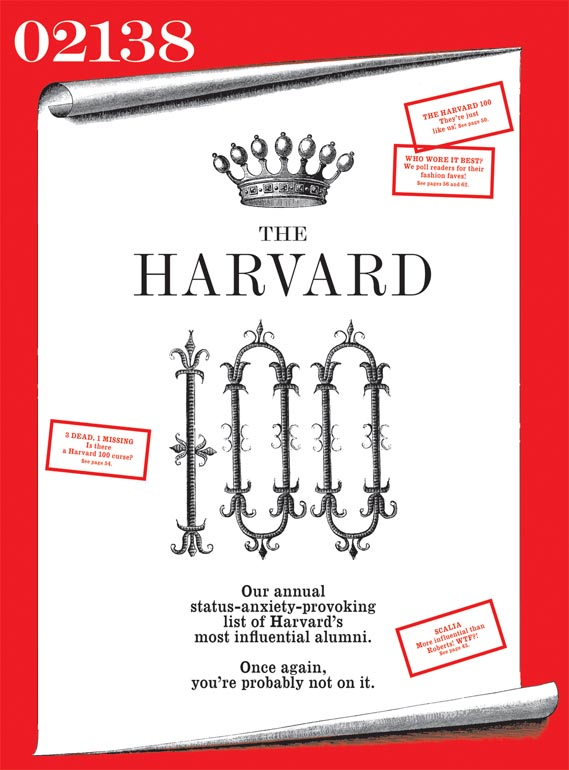 02138, 'the luxury lifestyle magazine of the Harvard elite' - Hayman's most recent editorial project was 02138, 'the luxury lifestyle magazine of the Harvard elite', which was to be sent exclusively to the school's top 50,000 alumni (launch issue cover and spread shown). However, the title was pulled as the first issue went to press, on the same day that Radar folded, coincidentally. Designer: Shigeto Akiyama.