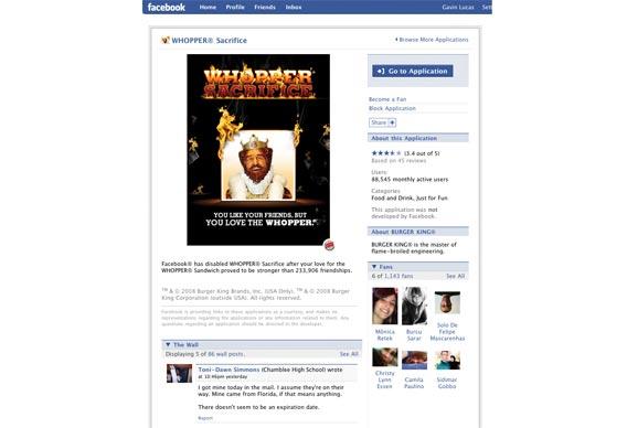 Whopper Sacrifice Facebook application