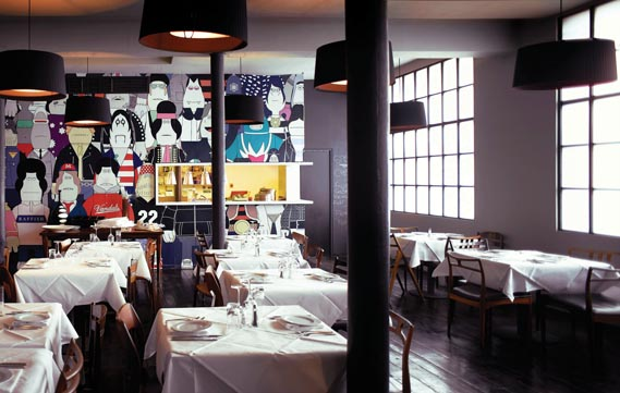 Spring Studios' restaurant and bar - Spring Studios' restaurant and bar is available for use by clients and is decorated with two wall murals by illustrator James Jarvis