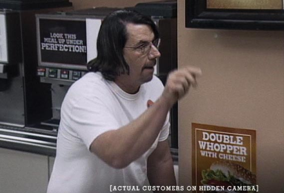 Burger King Whopper Freakout campaign - CCTVfootage captured images of customers' reactions to being told that the Whopper had been removed from the menu forever. The eponymous freakout followed.
