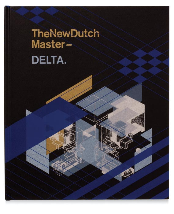 "Cover of Cadby's catalogue for Dutch artist Delta - The cover of Cadby's catalogue for Dutch artist Delta represents a complex design and print process, as he explains: ""I redrew elements of the artist's work so I could use these graphics as half-tones to build up the cover image in printed layers. I printed a silver first, then I printed white on top in different percentages. Then I printed gold, then another silver which goes on top of the whites and the gold, and then I printed another white which then sits on top of the silver and the whites to create different layers."" This visual language is carried through to the intro­ductory section of the catalogue"