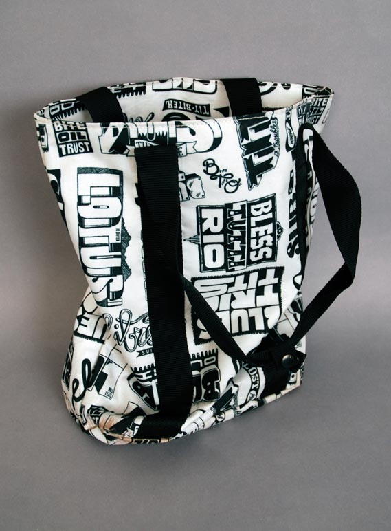 "Eastpak bag - Eastpak bag featuring a pattern designed by Letman, from 2006. ""For this design I ran Eastpak's slogan 'Built to Resist' through an anagram-server,"" Letman says. ""I filtered the most poetic results which I believed were: Libretto Suits, Bite Oil Trust, Lotus is Bitter, Eliot Rubs Tits, Subtitle Riots, Turbo Elitists, Soul Tit Biter, Bless Tutti Rio, Tit Is Troubles, Blister Outsit, I Titus Lobster, Bus Tilt Storie, I Lost Tributes, Titti Tub Losers, and Blues Trio Tits"""