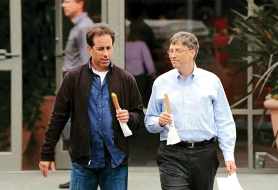 Still from cp+b's first tv campaign for Microsoft, starring Bill Gates and Jerry Seinfeld. - The ads were quickly replaced by the 'I'm a pc' spots.