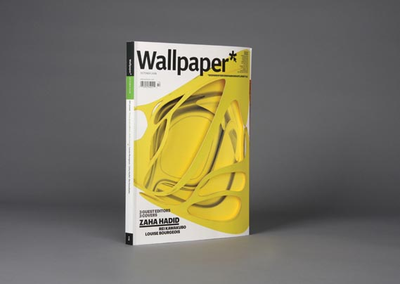 Wallpaper - Zaha Hadid's die-cut cover for Wallpaper* (Oct 2008). Art Director: Meirion Pritchard