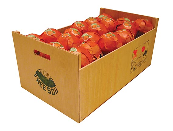 Crate of wrapped oranges shown - In 2005, San Francisco-based new media and design collective, Futurefarmers, traced the food miles of oranges in its f.r.u.i.t project. The studio designed a series of fruit wrappers (one shown) printed with information about food movements, trans­portation and urban farming, for a gallery installation and accompanying website. The wrappers pointed consumers to the site, free-soil.org/fruit, to track the oranges' journeys and also to encourage people to participate in protests to help reduce food miles.