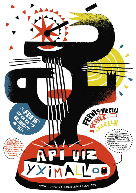Yximalloo and Api Uiz - Concert poster for Yximalloo and Api Uiz at Ferme du Biéreau in Brabant, Belgium, 2007