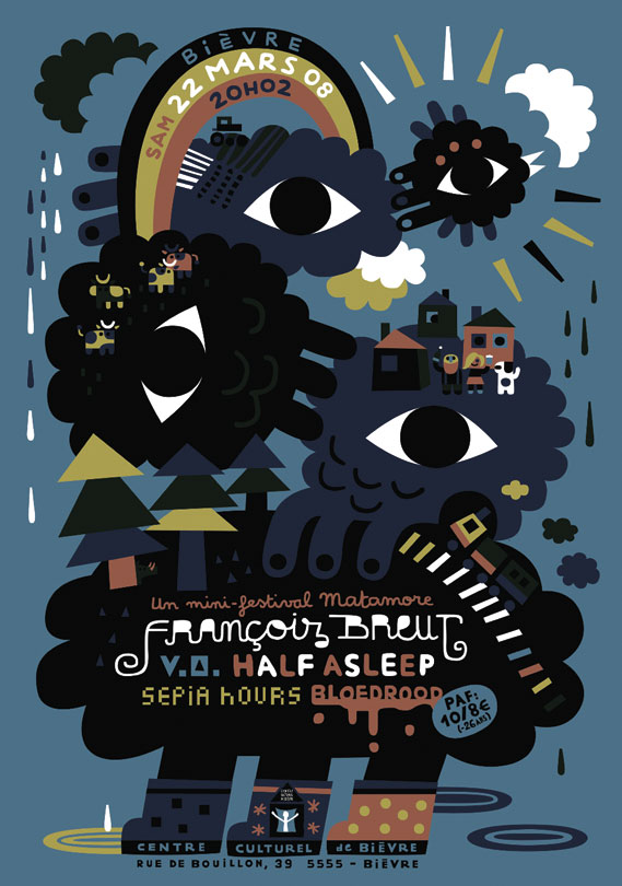 Poster for arts festival in Bièvre, Belgium