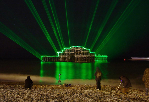 569_4.jpg - Brighton's West Pier lit up by lasers - 2166