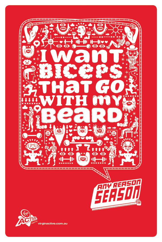 I want biceps with my beard - Any Reason Season for Virgin Active, illustrated by Serge Seidlitz (1 of 4)