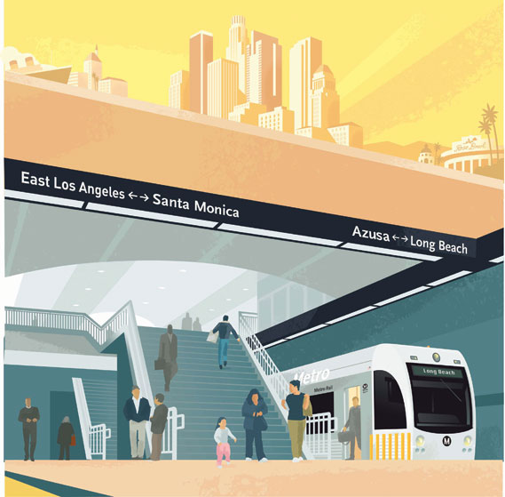 Paul Rogers illustration series for LA Metro (2 of 2)