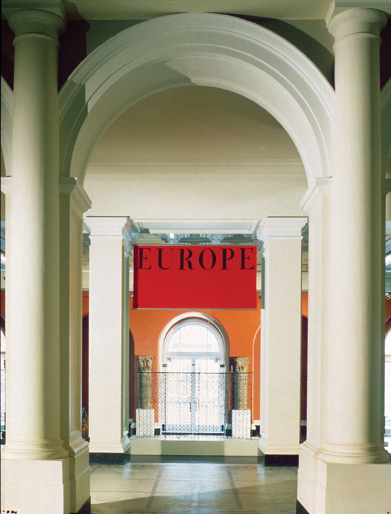 Wayfinding banners - Example of the wayfinding banners that Fletcher also designed for the V&A