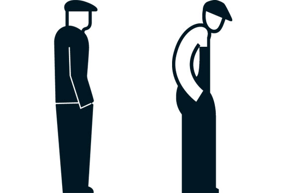 Gerd Arntz - A comparison between Arntz's Isotype symbol for 'unemployed' (l) and that of Rudolf Modley (r), both drawn in the 30s. Arntz's figure looks slightly bent but, in fact, just the head has been moved forward