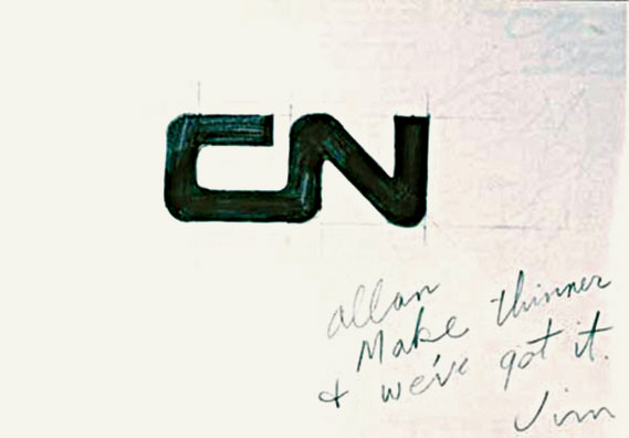 "One of Fleming's sketches for the Canada national logo - Carrying a note from art director Jim Valkus: ""Allan, make thinner &; we've got it, Jim"" (image: National Archives of Canada)"