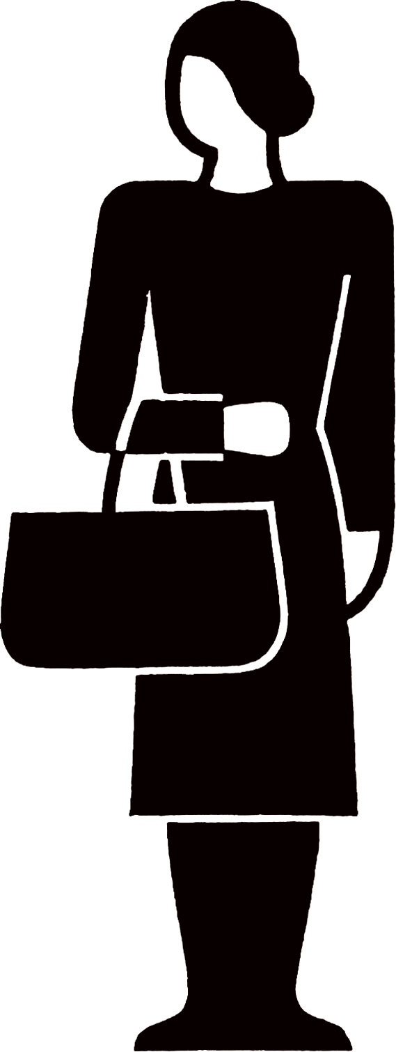 Woman with a bag - A symbol of a woman with a bag, used to illustrate statistics on family income