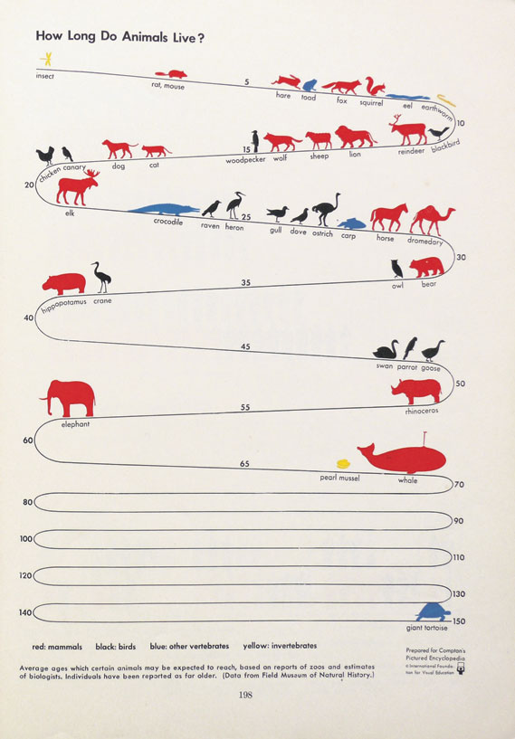How Long Do Animals Live? - From Compton's Pictured Encyclopedia, 1939. Courtesy of the Otto and Marie Neurathe Isotype Collection, University of Reading