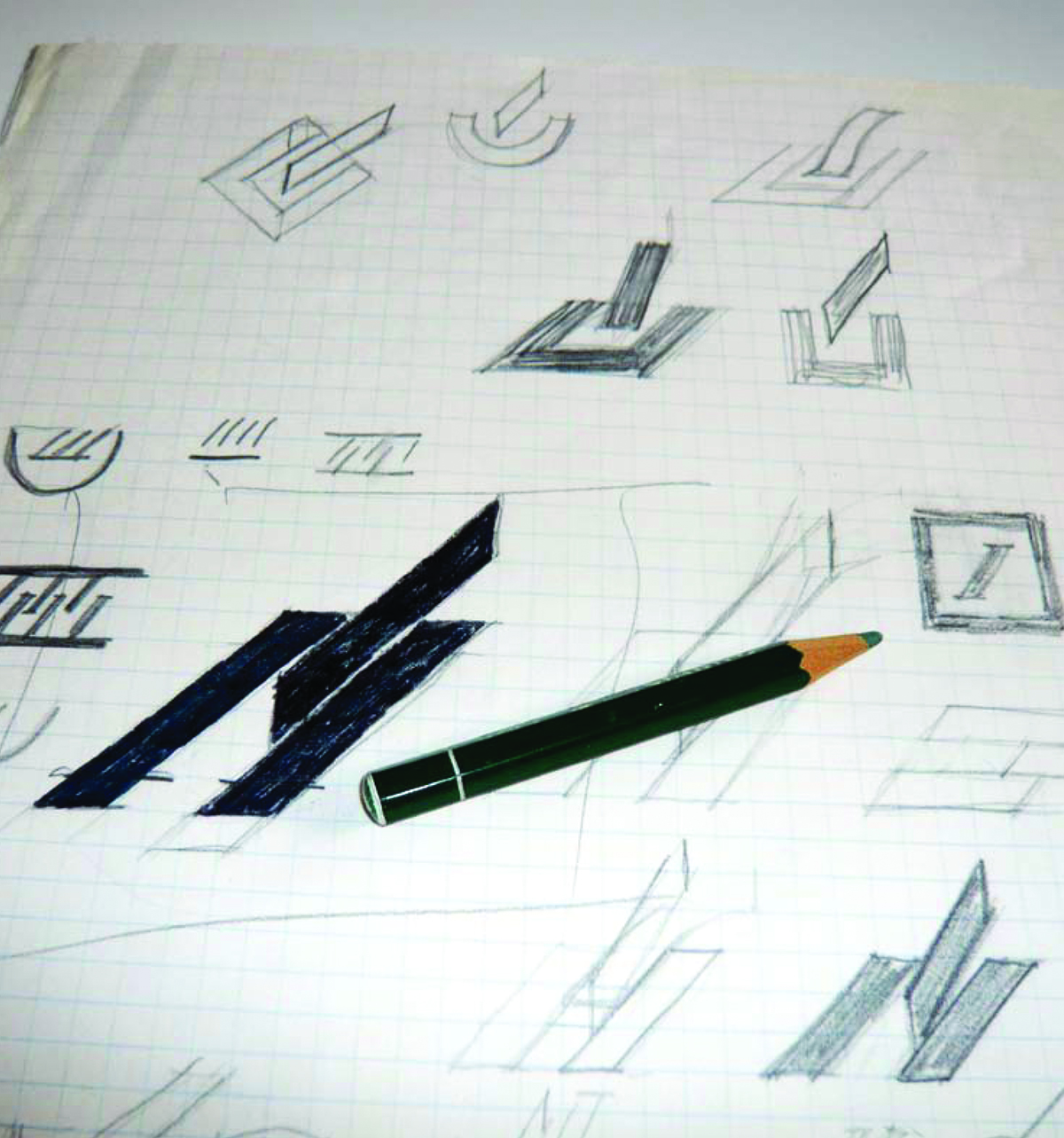 Initial sketches for the Deutsche Bank logo competition