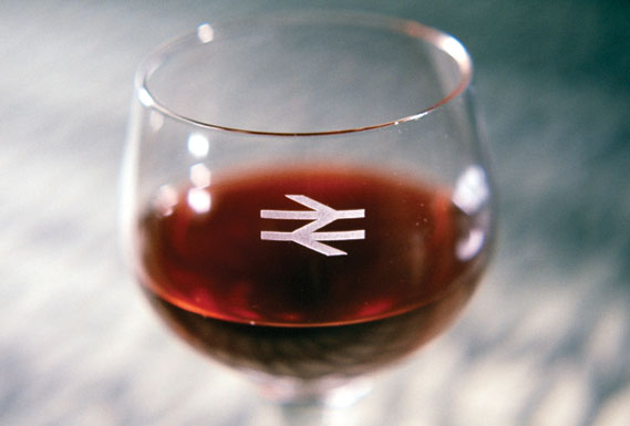 Wine glass with BR symbol, 1964 - Images © NRM British Transport Films/Science & Society Picture Library