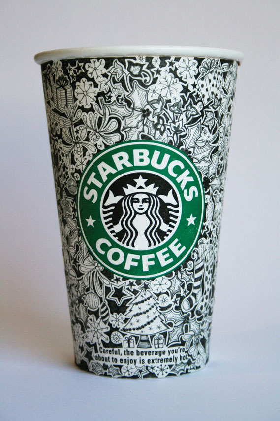Starbucks hand-illustrated cup - Twitter also enabled her to interact with the creative director of Starbucks in Seattle, to whom she sent a series of hand-llustrated cups