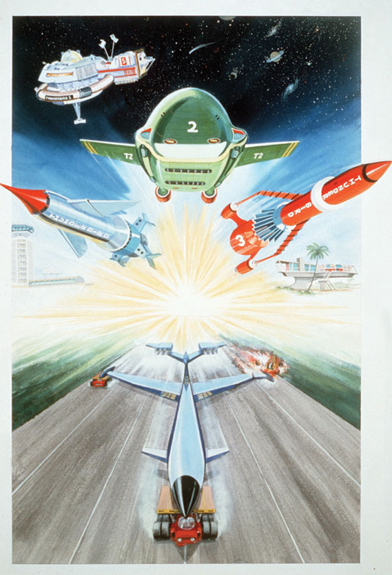 Cartoon of the Thunderbirds spaceships taking off from Tracey Island (1965)