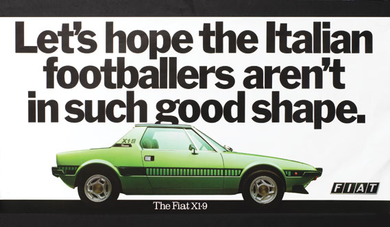 The Fiat X1-9 (run to tie in with the 1978 World Cup qualifying campaign in which England played Italy)