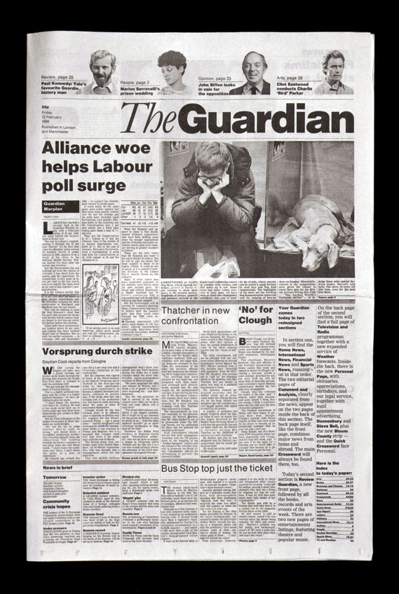 The redesign of The Guardian newspaper, from 1988, when Hillman was a partner at Pentagram