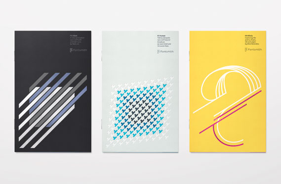 Fontsmith produces printed type samplers for all its typefaces - These three undersized A5 booklets for FS Elliot, FS Truman and FS Olivia were all designed by Thompson Brand Partners