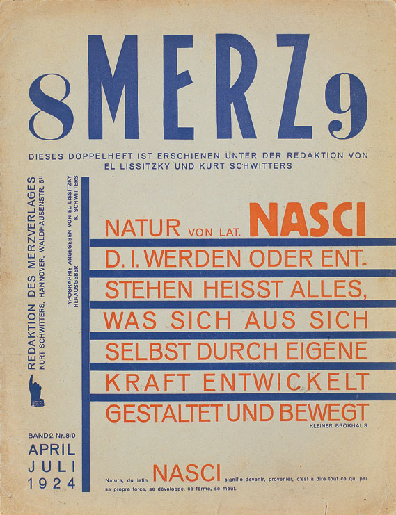 Cover of Merz periodical published by Kurt Schwitters, 1923–1932