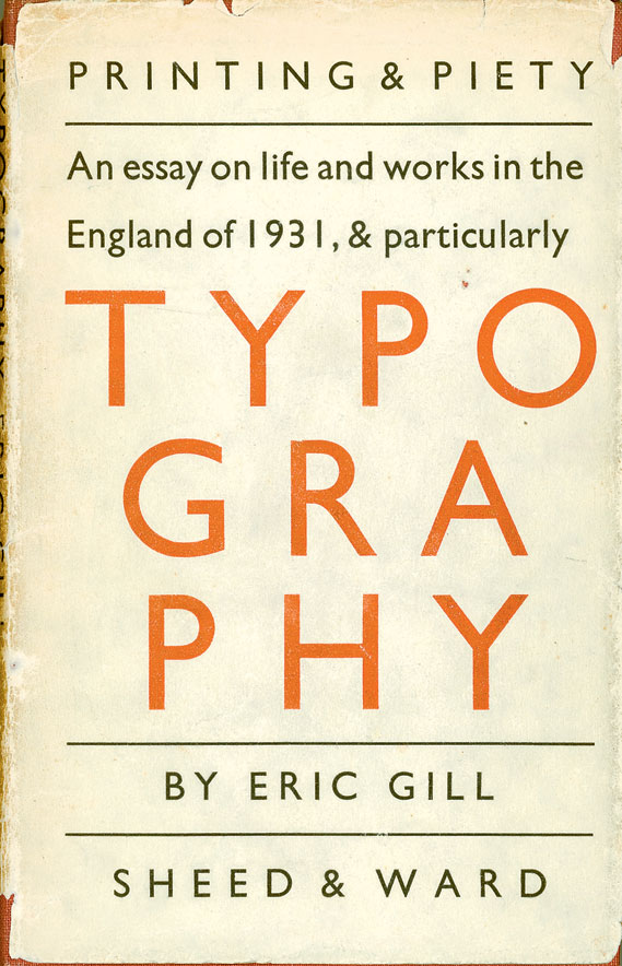 Cover of Eric Gill's An Essay on Typography, published by Sheed & Ward, 1931