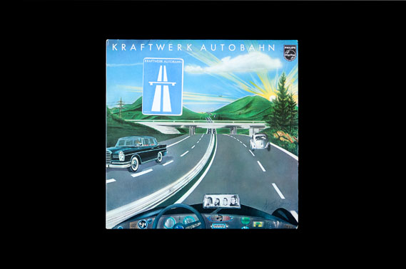 "The original, non-UK sleeve for Autobahn - ""This early sleeve has a romantic, far-out hippie aesthetic, totally removed from the band's later stark robot image,"" Burrill says. ""The strange juxtaposition of automated modernity with the natural landscape gives the album a romantic, almost naive 'folksy' atmosphere."" Image courtesy Colin Buttimer, Hard Format, hardformat.org"