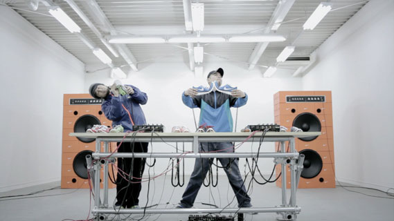 Nike Music Shoe campaign from W+K Tokyo in 2010 - Featuring Japanese breakbeat duo Hifana 'playing' a pair of Nike Free Run+ running shoes