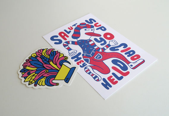Sticker and postcard from illustrator Andy Rementer
