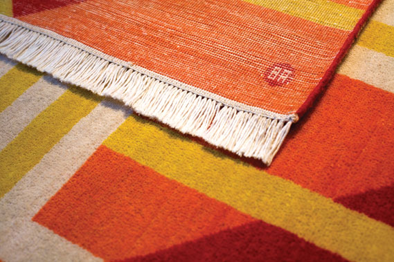 Detail of Anthony Burrill's Intersecting Colours rug, also hand woven in Cairo for Foundation Rugs, foundationrugs.co.uk