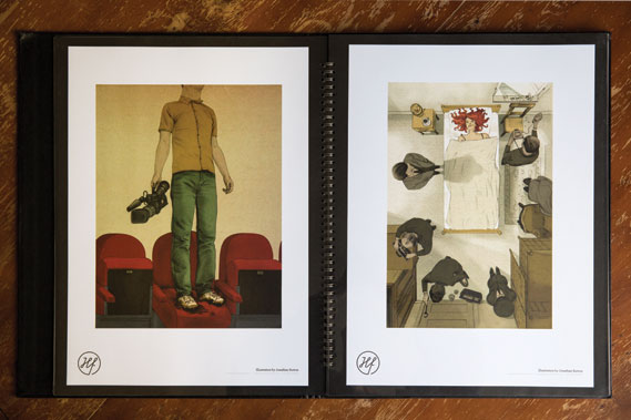 One of Handsome Frank's leather-bound A3 portfolios, with work by Jonathan Burton