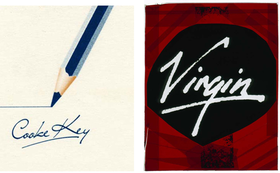 The Virgin logo was inspired by that of creative studio Cooke Key. Virgin MD Simon Draper saw their logo (far left, drawn by Ray Kite) and asked them to do something similar for the label (original negative shown)