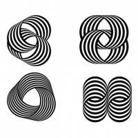 Four of Grignani's experiments with striped forms from the 1960s