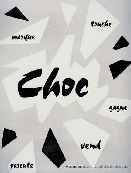 Press ad for Choc typeface, published in Le Courrier Graphique, 1955