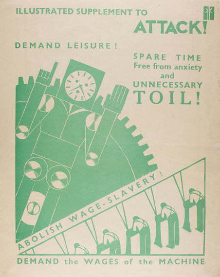 KK poster by John Hargrave (1933) conveying the belief that under a 'social credit' economic system, work would be carried out by machines