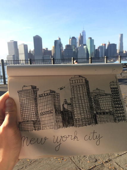 Sketch completed shortly after arriving in New York