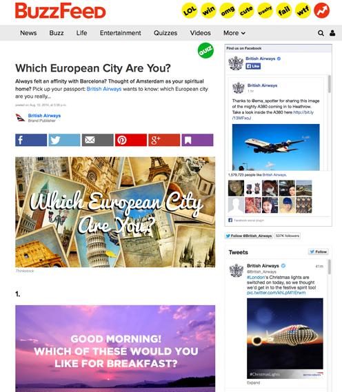 Buzzfeed European city quiz sponsored by British Airways